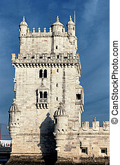 famous Belem Tower in evening