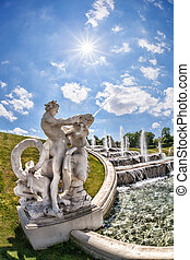 Belvedere Palace with fountains in Vienna,  Austria