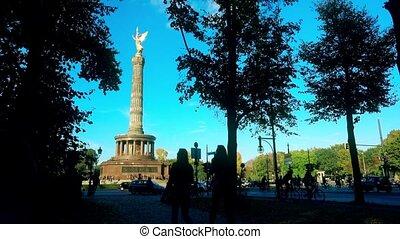 Famous Berlin Victory Column in Tiergarten Park and...