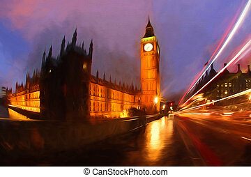 Famous Big Ben in London, England, United Kingdom, ARTWORK STYLE