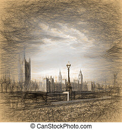 Big Ben in London, England, United Kingdom, ARTWORK STYLE