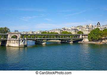 Famous Bir Hakeim bridge view and Seine river in a sunny summer day in Paris, France