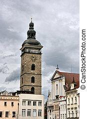 Famous Black Tower of Ceske Budejovice town in Czech Republic