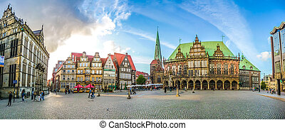 Famous Bremen Market Square in the Hanseatic City Bremen,...