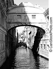 Famous bridge of sighs in Venice Italy