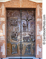 Famous Bronze Doors of Annunciation Cathedral in Nazareth, Israel