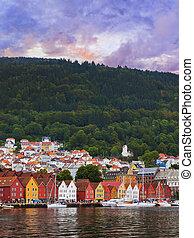 Famous Bryggen street in Bergen - Norway - Famous Bryggen...