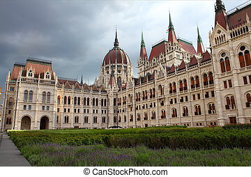 Famous building of Hungarian Parliament in Budapest.