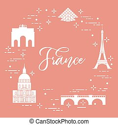 Famous buildings of Paris. Symbols and landmarks.