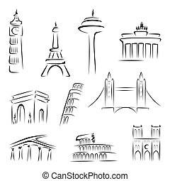 Famous buildings - Set of world most famous landmarks at...
