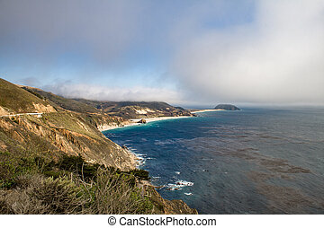 famous cabrillo highway at point sur state historic park, ...