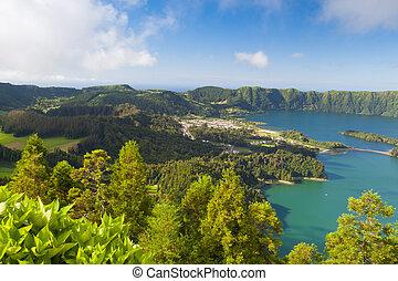Famous caldera on Azores