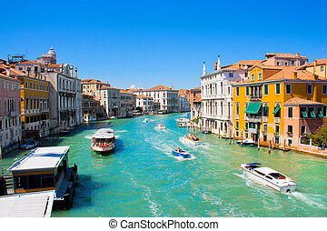 Famous Canal Grande in Venice, Italy as seen from Ponte...