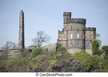 Carlton Hill - famous Carlton Hill with obelisk in...