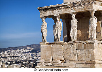 Famous  Caryatides in Acropolis, Athens, Greece