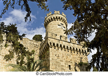 Famous castle of Templar knights at Rhodes island in Greece
