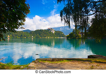 Famous castle on the Bled lake