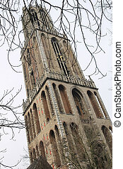 Famous Cathedral Tower in Utrecht, the Netherlands