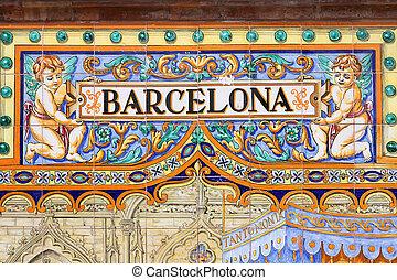 Barcelona - Famous ceramic decoration in Plaza de Espana,...