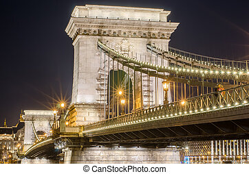 Famous Chain Bridge by night in Budapest, Hungary
