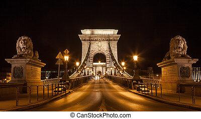 Famous Chain Bridge in Budapest, Hungary