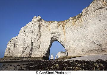 Famous chalk cliffs at Cote d'Albatre (Alabaster Coast). Etretat, France