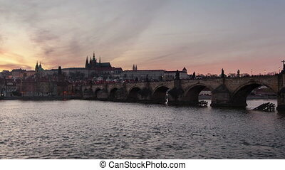 Famous Charles bridge  and a time lapse shooting in day-to-night perspective