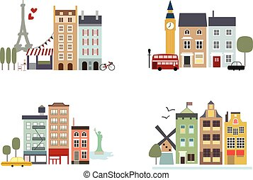 Famous cities with landmarks