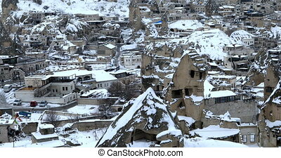 Famous city Cappadocia in Turkey - A view of ancient village...