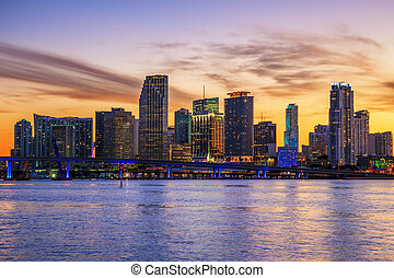 Famous cIty of Miami at sunset - Famous cIty of Miami,...