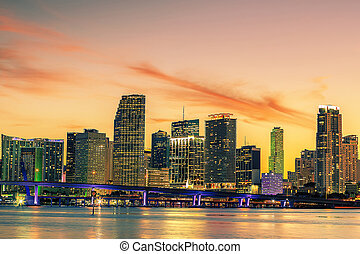 Famous cIty of Miami, summer sunset
