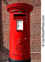 Famous classic red London and UK post office on the street, GB