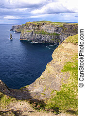 Famous cliffs of Moher with tower. Ireland