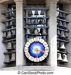 Famous clock on Bahnhofstrasse in Zurich, Switzerland