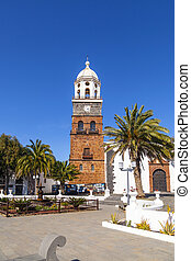 famous clock tower and church of Nuestra Senora de Guadalupe in Teguise, Lanzarote