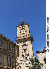 famous clock tower in Aix en provence