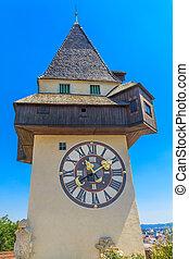 Famous Clock Tower (Uhrturm) in Graz, Styria, Austria