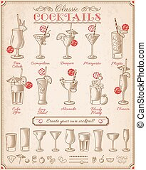Famous Cocktails Illustrations menu