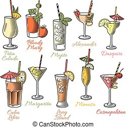 Famous Cocktails Illustrations - Set of ten beautiful...