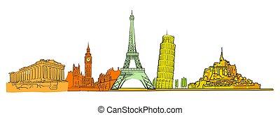 Famous colored landmarks set