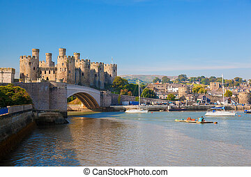 Famous Conwy Castle in Wales, United Kingdom, series of...
