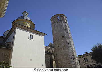 famous dodecagonal tower with bell tower in Amelia, Umbria,...