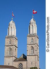 """""""Grossmunster"""" cathedral in Zurich"""