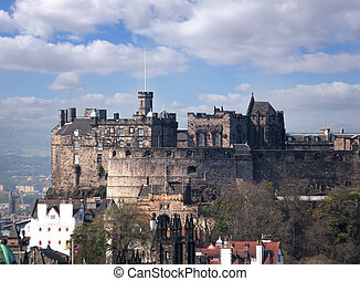 Famous Edinburgh Castle with city in Scotland