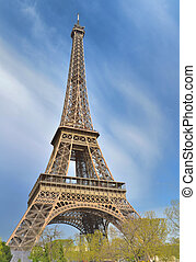 famous eiffel tower on the sky in Paris - France