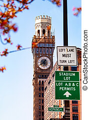 Famous Emerson Bromo-Seltzer Tower in Baltimore, USA -...