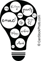 Famous Equations - Light Bulb Illustration With Famous...