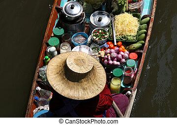 Floating Market - Famous Floating Market in Thailand. ...