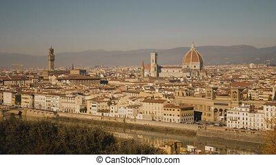Famous Florence Cathedral and Ponte Vecchio bridge, main...