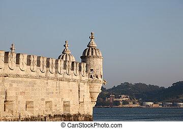 Famous fortress Torre de Belem (Belem tower) in Lisbon, Portugal